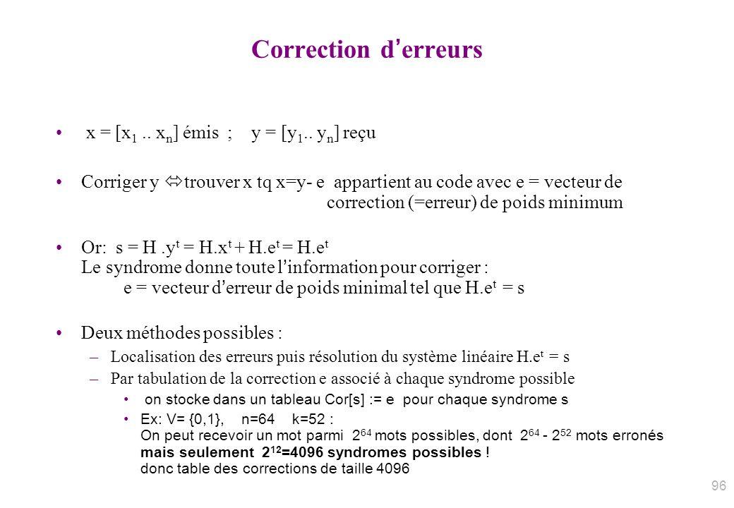 Correction d'erreurs x = [x1 .. xn] émis ; y = [y1.. yn] reçu
